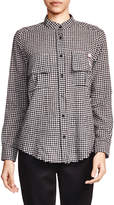 The Kooples Button-Down Gingham Cotton-Wool Shirt w/ Brooch