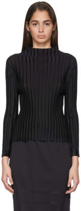 Pleats Please Issey Miyake Black October Mock Neck Sweater