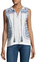 Neiman Marcus Embroidered Tassel Blouse, White