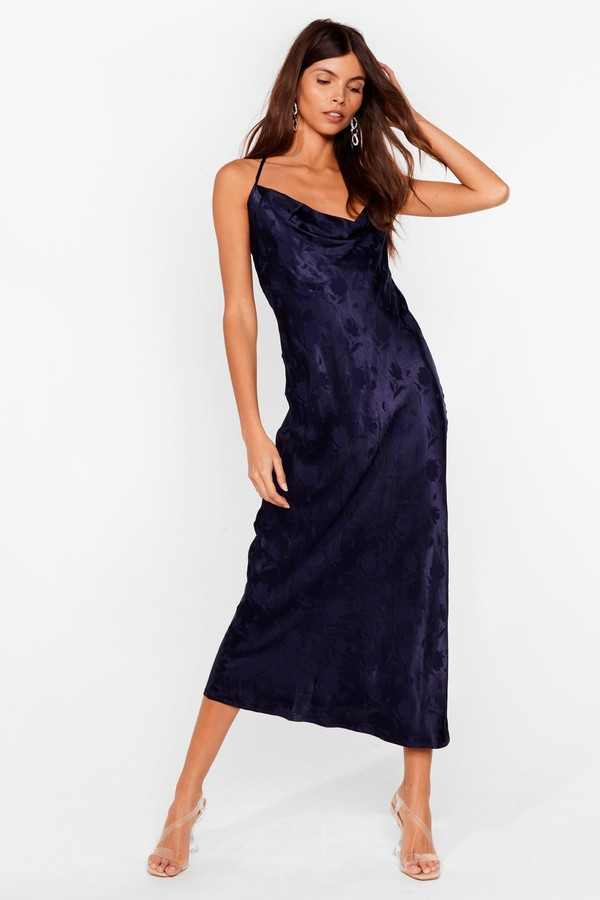 Nasty Gal Womens Jacquard Satin Cowl Neck Midi Dress - Navy - 8