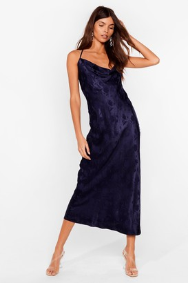 Nasty Gal Womens Jacquard to Find Satin Midi Dress - Navy - 4, Navy