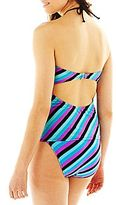 JCPenney Since Striped Bandeaukini Swim Top
