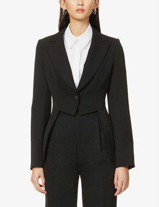 Cut-out single-breasted wool blazer