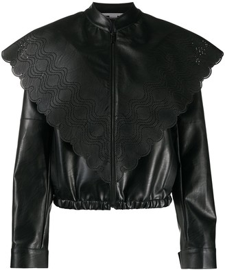 Stella McCartney Perforated-Panel Faux-Leather Jacket