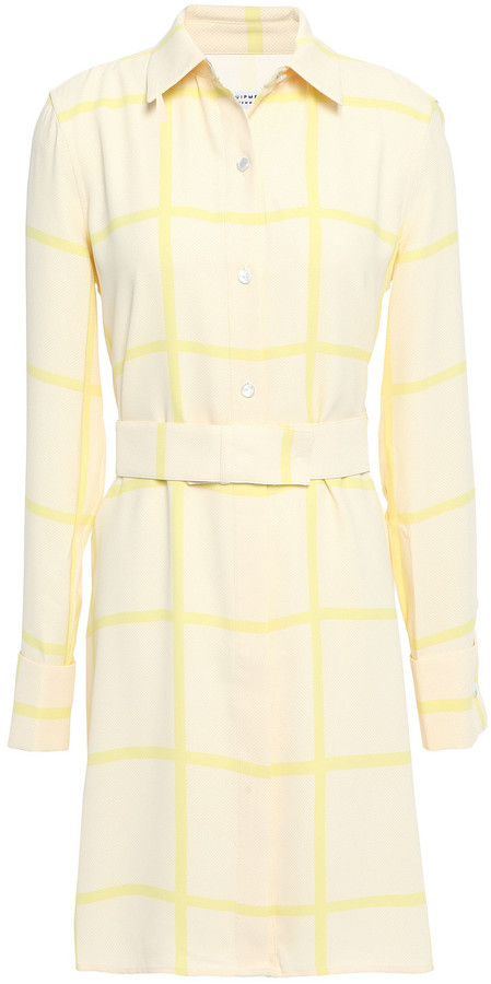 Equipment Belted Checked Crepe Mini Shirt Dress