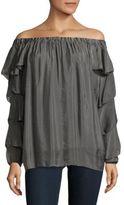 Le Marais Ruffled Sleeves Hi-Lo Silk Top