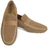 Moreschi Portofino - Tan Perforated Suede Driver Shoes