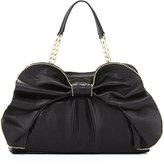 Betsey Johnson Bow-Dacious Bead Trimmed Satchel Bag, Black