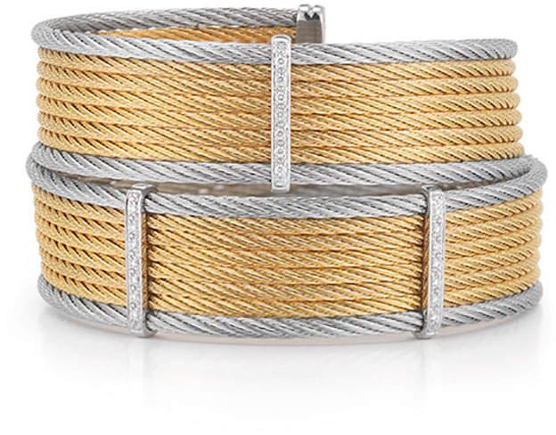 Alor 18k Gold Two-Tone Wide Bangle w/ Diamonds