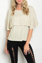 Sweet Claire Ruffle Cropped Tee