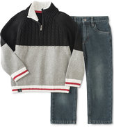 Calvin Klein Baby Boys' 2-Pc. Colorblocked Sweater & Jeans Set