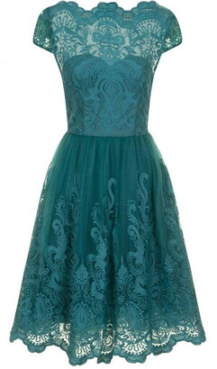 Chi Chi Metallic Lace Tea Dress