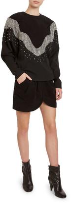 Isabel Marant Valia Sequined Raglan-Sleeve Sweatshirt