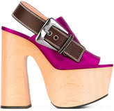 Rochas slingback platform sandals - women - Wood/Leather/Silk Satin/rubber - 35
