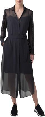 Akris Punto Long Sleeve Belted Polka Dot Silk Midi Dress