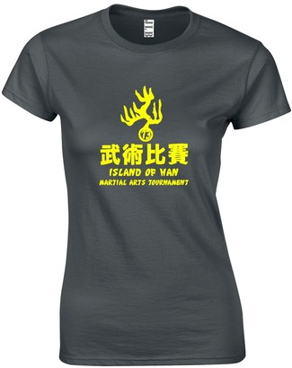 JLB Print Island of HAN Bruce Lee Martial Martial Arts Themed Premium Quality Fitted T-Shirt Top for Women and Teens Black