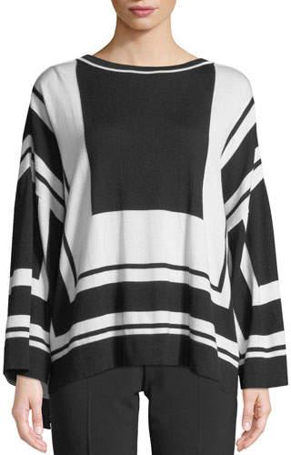 Piazza Sempione Graphic-Stripe Wool/Silk Sweater