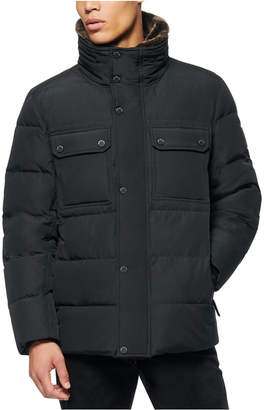 Andrew Marc Men Godwin Down Filled Trucker Jacket with Removable Faux Fur Collar and Hidden Hood