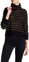 Line Cropped Funnel Knit Sweater