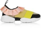 Emilio Pucci Multi Pink/Mustard Tech Fabric and Silk Ruffle Sneakers