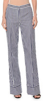 MSGM Striped Straight-Leg Cotton Pants, White/Blue