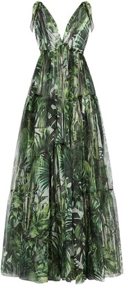 Dolce & Gabbana Flocked Leaf Georgette Dress