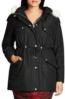 City Chic London Look Faux Fur Trimmed Hooded Parka