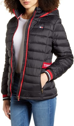 Tommy Sport Logo Cinch Waist Puffer Jacket