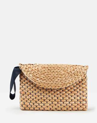 Joules Hadden Woven Straw Flap Over Clutch Bag