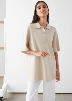 And other stories Oversized Ribbed Knit Polo Shirt