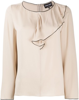 Giorgio Armani Long-Sleeved Draped Collar Blouse
