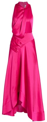 Acler Palmera Satin Draped Dress