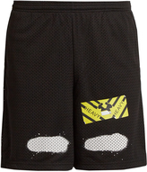 Off-White Spray-paint mesh shorts