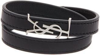 Saint Laurent Opyum Double Wrap Leather Bracelet