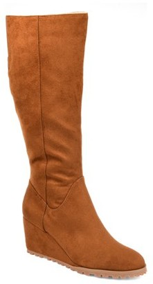 Brinley Co. Womens Extra Wide Calf Comfort Lug Sole Wedge Boot