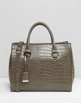 Glamorous Structured Moc Croc Tote Bag