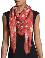 Roberto Cavalli Pretty Thing Printed Voile Scarf, Crimson