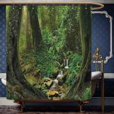 Wanranhome Custom-made shower curtain Nature Decor Wonderland Forest Nepal Asian Jungle Rainforests Habitat Wild Primeval Picture Green For Bathroom Decoration