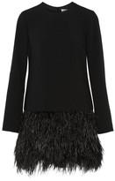 Elizabeth and James Serena Feather-trimmed Cady Mini Dress - Black