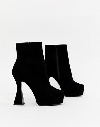 Asos Design DESIGN Equality suede platform boots-Black