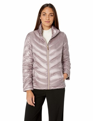 Calvin Klein Women's Short Packable Down Jacket with Stand Collar