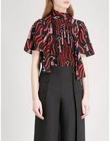 Valentino Lips-print silk-crepe de chine blouse