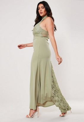 Missguided Size Bridesmaid Green Halterneck Maxi Dress