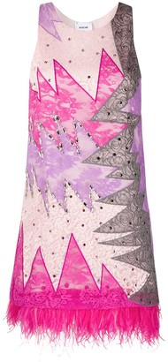 Emilio Pucci x Koche feather-embellished lace dress