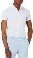 Topman Men's Slim Fit Geo Print Woven Shirt