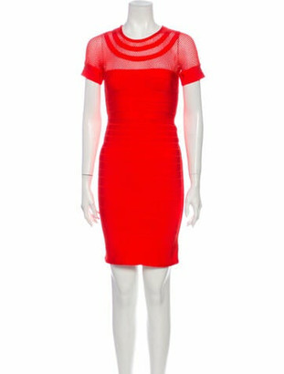Herve Leger Crew Neck Mini Dress Red