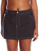 Free Country Women's Plus-Size Stretch Jean Skirted Bikini Bottom