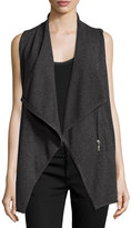 philosophy Cashmere Draped Zip-Front Vest, Gray