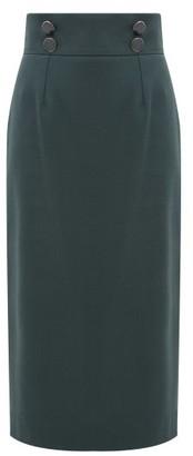 Goat Joss High-rise Wool-crepe Pencil Skirt - Dark Green