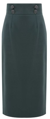 Goat Joss High-rise Wool-crepe Pencil Skirt - Womens - Dark Green